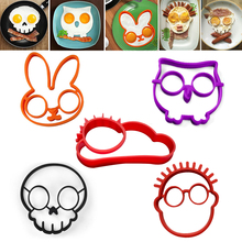 5Pcs/lot Non-stick Silicone Egg Molds Owl Rabbit Skull Boy Sun Shapes Pancake Rings Fried Eggs Omelette Mould Cooking Tools(China)