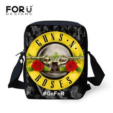 Men Messenger Bags Male Casual Crossbody Bags Guns n Roses Rock Shoulder bag Teenagers Boys Cross Body Bolsos FORUDESIGNS 2017