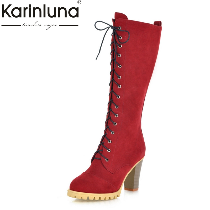 KARINLUNA Size 34-40 Platform British Style Retro Spike High Heels Women Shoes Woman Fashion Party Date Lady Riding Boots Winter<br>