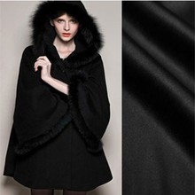 Black smooth hair import high-end cashmere coat thick woolen cloth fabric autumn and winter special wholesale