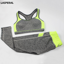 LASPERAL Women Fitness Tracksuit Patchwork Padded Bralette Bra Top And Elastic Legging Capris Pants Set Women Workout Clothes