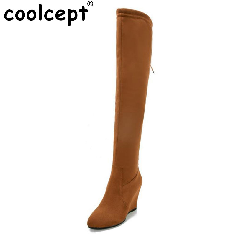 Coolcept Size 34-44 Women Over Knee Boots Zipper Wedges Boots Warm Fur Shoes For Cold Winter Botas Long Boots For Women Footwear<br>