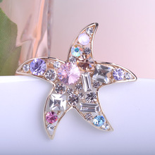 Star Jewelry Crystal Rhinestone Colorful Star Brooches For Women Gold-color Hat Accessories Scarf Buckle Men cheap Brooch Pins