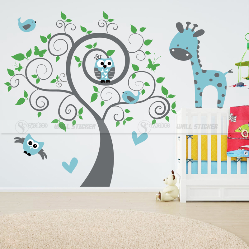 large owl tree giraffe animal vinyl wall sticker nursery kids baby