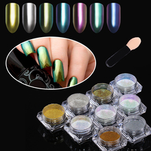 Chameleon Chrome Nail Glitter Powder Mirror Effect Gold Silver Holographic Pigment Dust Powder UV Gel Nail Art Decoration