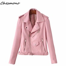 Women candy color PU faux leather short motorcycle jacket oblique zippers pockets sexy punk coat lady casual outwear tops casaco(China)