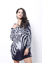 Women 2017 New Spring short Dresses fashion Casual loose print zebra long sleeve Dress plus size Fat MM Clothes Vestido de renda