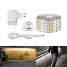 EU US Cabinet LED Night Light Infrared PIR Motion Sensor LED Strip 5050 Cupboard Wardrobe Bed Lamp Ribbon Tape Waterproof DC 12V(China)