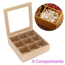Wooden Square 9 Slots Tea Box Essential Oil Bottles Storage Box Hinged Glass Lid Container Natural Wood Sundries Organizer(China)
