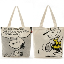 Two-sided Kawaii Snoopie Cartoon Dogs Canvas shopping Bag Female Women portable Storage bags 33*38*8CM Christmas Brinquedos Gift