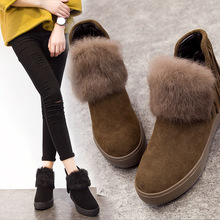 women snow boots winter genuine leather tassel ankle non-slip boots thick rabbit fur snow boots women short tube(China)