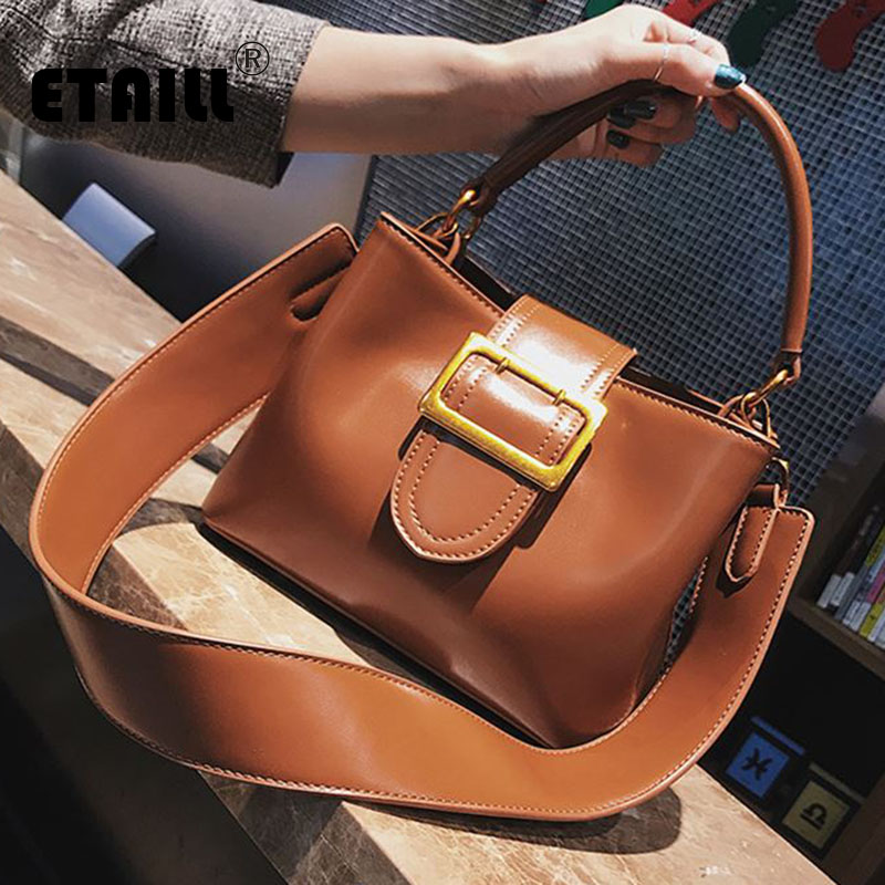ETAILL 2018 Fashion PU Patent Leather Handbags Women Bucket Tote Shoulder Bag Luxury Designers Famous Brand Ladies Messenger <br>