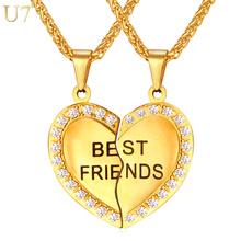 U7 Brand Heart Necklace Friendship Jewelry Friend Pendant & Chains Gold Color Stainless Steel Best Friend Couple Necklace P821(China)