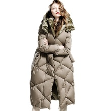 New Winter Women's Long Outerwear 90% White Goose Down Coat Long Sleeve Warm Women Winter Jackets Hooded Double Side 0260(China)