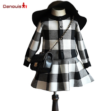 Baby Girl Clothing Sets Autumn Winter Children Paid Clothing Suits Hoodies Coat + Tutu Skirt New 2016 Girl Boutique Clothing Set(China)