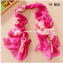 new 2017 hand-painted peony fall chiffon georgette silk scarf/shawl wholesale and retail