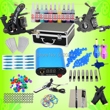 USA Storage Pro Beginner New Complete Tattoo Kit 2 Machine Gun 10 Inks Colors LCD Power Needles Tips Grips Supply WS-K002