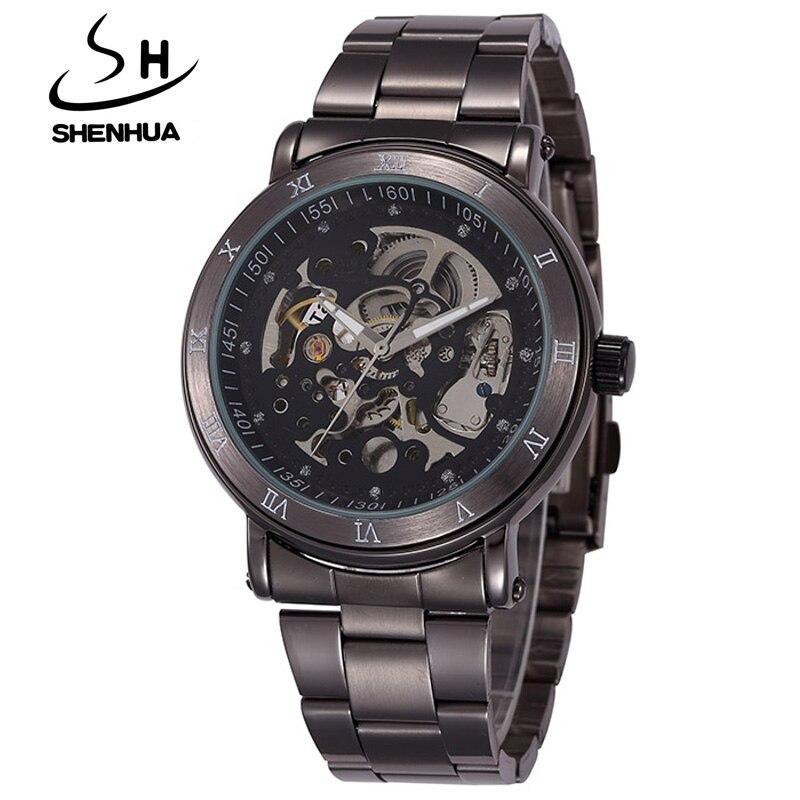 new fashion skeleton black men male clock SHENHUA brand hollow cool stylish design classic mechanical wrist dress watch<br><br>Aliexpress