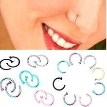 1pcs Medical Nostril Titanium Gold Silver Nose Hoop Nose Rings clip on nose ring Body Fake Piercing Piercing Jewelry For Women(China)