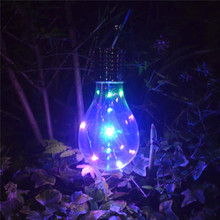 Portable 5 LED Light Bulb Colorful Solar Bulb Hanging Lights With Clip Outdoor Camping Lamp Garden Decor Lighting Rechargeable