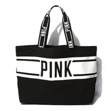 2017 Women Canvas Shopping Bags Shopper Tote Eco Shoulder Versatile Sack Summer Holiday Beach PINK Letter Handbag Bolsos