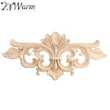 KiWarm Vintage Unpainted Wood Carved Decal Corner Onlay Applique Frame For Home Furniture Wall Cabinet Door Decor Crafts 22*10cm
