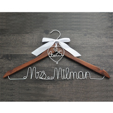 Hanger with heart and date for your wedding, wedding hanger, personalized bridal hanger,bow wedding dress hanger, shower gifts(China)