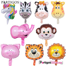 10pcs Mini Animal Head Foil Balloons Unicorn Lion Tiger Monkey Child Birthday Decor Gifts Jungle Animal Theme Party Toys Supply