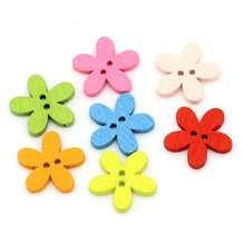 2 Holes Mixed Flower Wooden decorative Buttons Fit Sewing Scrapbooking Crafts Multicolor 100pcs 14x15mm