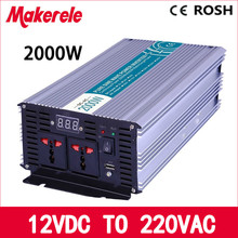 pure sine wave power inverter 12v 220v 2000w high efficient off grid voltage solar converter LED Display MKP2000-122(China)
