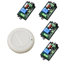 New Design AC 110V 220V 1CH Wireless Remote Control Switch System 4 pcs Receiver & 1 pcs White Wall Panel Sticky Remote 315/433(China)
