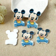 33*24mm DIY Cartoon baby Mickey Figurine holiday home decoration crafts flat back  resin hair accessories Resin Crafts