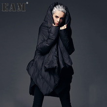 [EAM] 2017 Winter Fashion New Pattern Keep Warm Cloak Type Jackets Woman Thickening Solid Color Loose Big Size Coat YA501(China)
