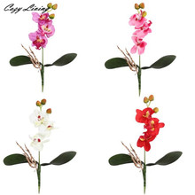 Real Touch Flowers Valentines Day 1 PC Triple Head Artificial Butterfly Orchid Silk Flower Home Wedding Decor Wholesale D29