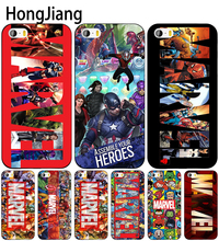HongJiang Luxury marvel cell phone Cover case for iphone 6 4 4s 5 5s SE 5c 6 6s 7 8 plus case for iphone 7 X(China)