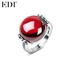 EDI 100% 925 Sterling Silver & Marcasite Fine Jewelry Big Red Natural Gemstone Garnet Wedding Ring for Women Antique Thai Silver