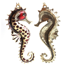 1 Piece Vintage Style Bronze Chain Glazed Enamel Sea Horse Hippocampus Pendant Necklace Sweater Long Chain Jewelry Wholesale