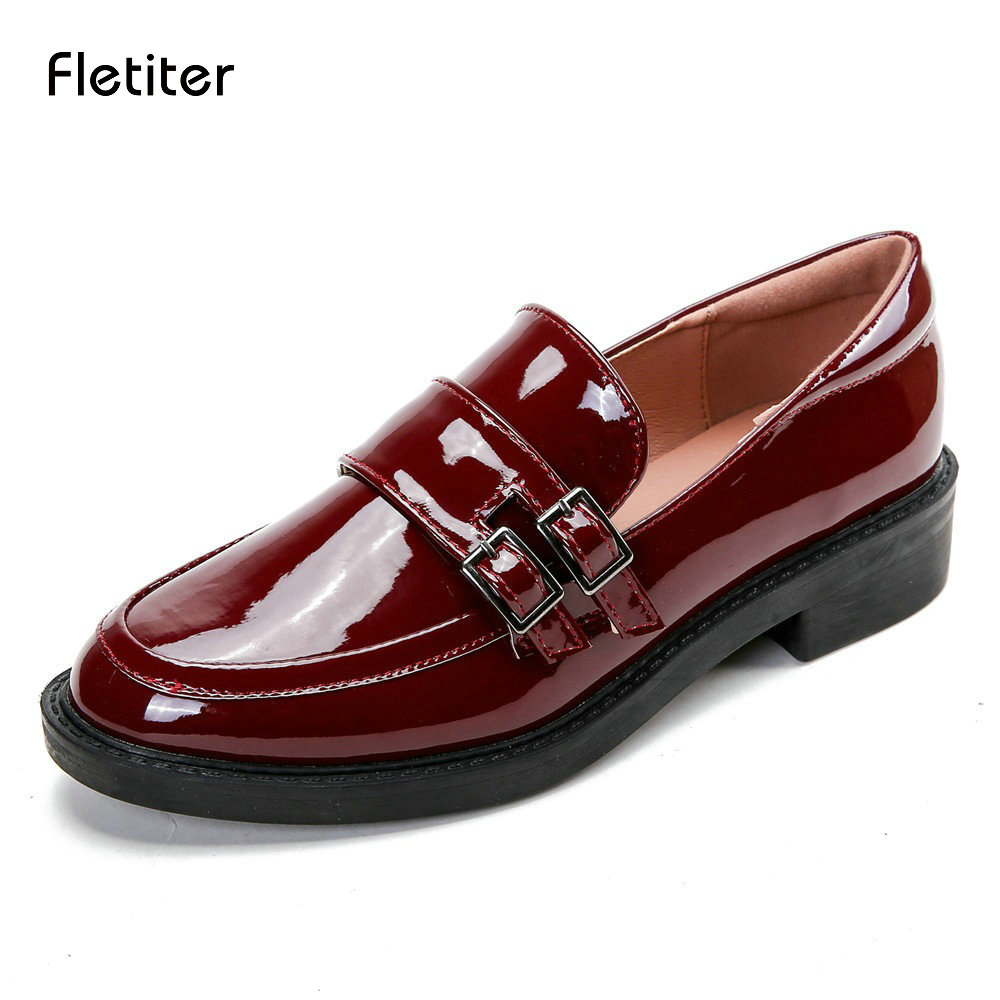 Fletiter Spring Round Toe British Style Womens Shoes Vintage Buckle Patent Leather Women Loafers Thick Heels Flats Size 34--42<br>