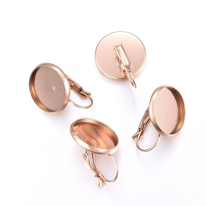 4Style 304 Stainless Steel Leverback Earring Findings, Rose Gold, Hole:1-2mm, Pin: 0.6x1mm, 0.8x1mm, 0.6x0.8mm,0.8mm; Tray: 14mm