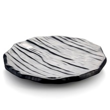 Round imitation wooden board melamine frost black color plate sushi dish wholesale tableware suppliers