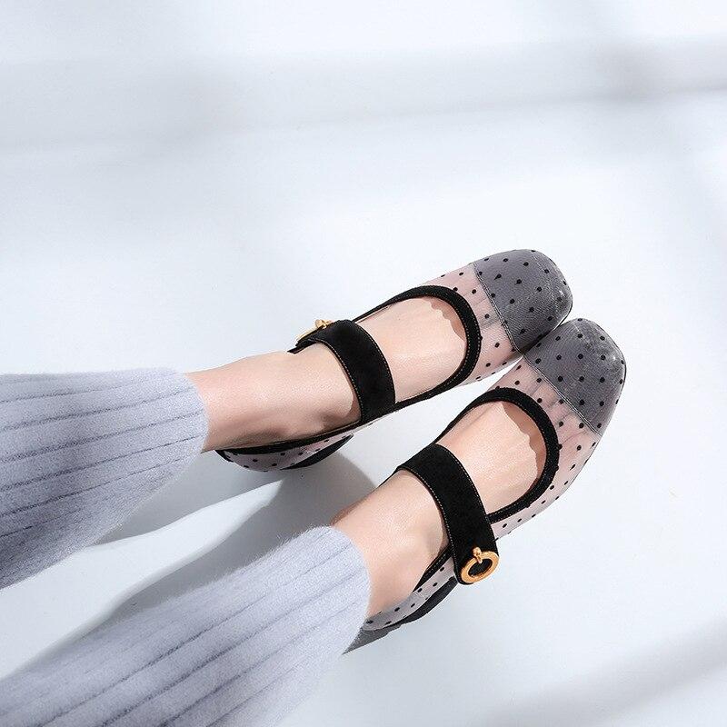Lolita Girl s Vintage Black Dotted Mesh Mary Janes 2018 Popular Design  Ballet Pumps Female Shoes 9af89db632dc