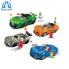 Qunlong Toys 4 Style Racing Car Building Blocks Educational Action Figures Compatible Legoe City Enlighten Bricks Toys For Kid(China)