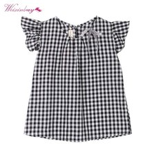 WEIXINBUY Hot Summer Kid Girl Dress Plaid A Line Bowknot Casual Cotton Dresses Children Fashion Clothing G27(China)