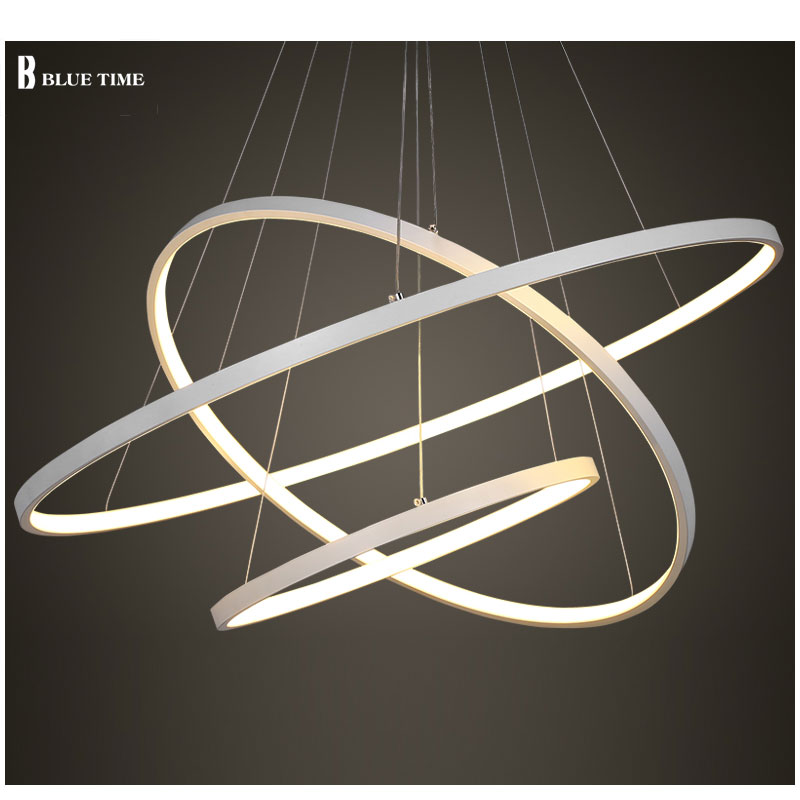 Black/White Color Modern pendant lights for living room dining room 4/3/2/1 Circle Rings acrylic aluminum body LED ceiling Lamp<br>
