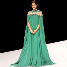 Gorgeous Bright Green Sonam Kapoor Long Sleeves Indian Style Prom Dress High Neck Sheer Back Sexy Evening Dresses
