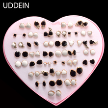 UDDEIN Wholesale 36 pair White/Black plastic earrings boxing fashion girls stud earring  jewelry mix design brinco hello kitty