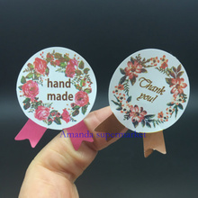 1200pcs/lot flower Medal Hand Made and Thank You Garland Seal Sticker Baking Package 4 colours