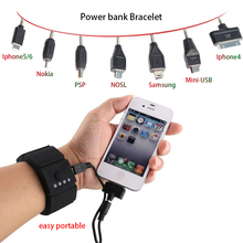 Original Bracelet Silicone Wrist Battery Band Power Bank Portable Power Bank 1500mAh for Iphone4/6/7 PSP Samsung HTC xiaomi