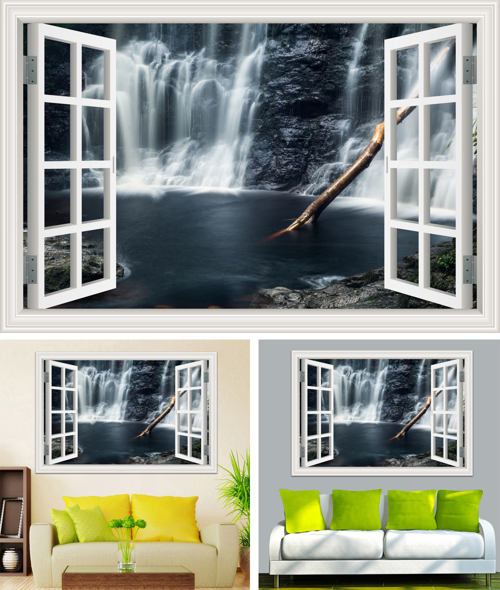HTB1hr2ub7fb uJkSnfoq6z epXas - Waterfall 3D Window View Wallpaper Nature Landscape Wall Decals for Living Room