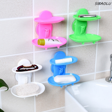 1 Pcs Cute New Kitchen Tools Bathroom Accessories Soap Holder Two Layer Suction Holder Soap Dish Storage Basket Soap Box Stand
